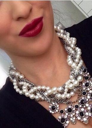 Массивное жемчужное ожерелье zara
