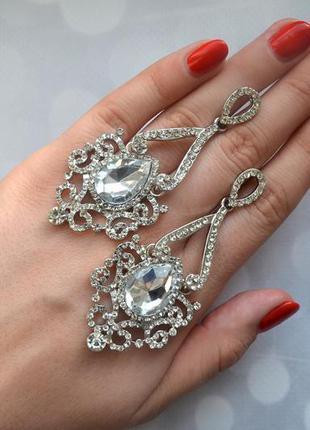 Серьги вечерние с камнями серебро