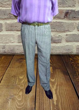 Мужские классические серые брюки в полоску leranto garda