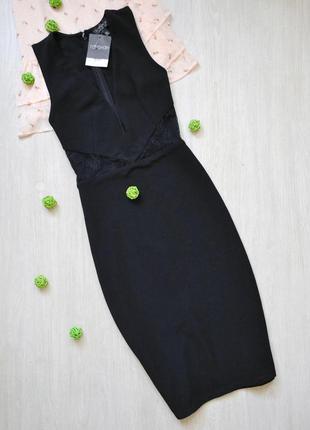 Шикарное платье миди с кружевными вставками topshop