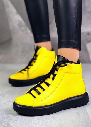 ❤ женские желтые весенние демисезонные кожаные спортивные боти...