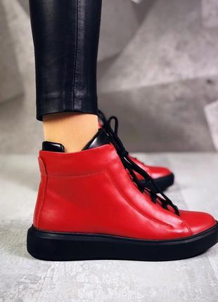 ❤ женские красные весенние демисезонные кожаные спортивные бот...