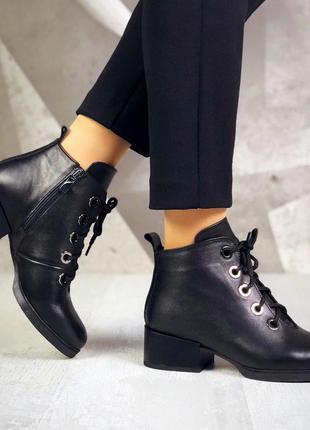 ❤ женские черные весенние демисезонные кожаные спортивные боти...