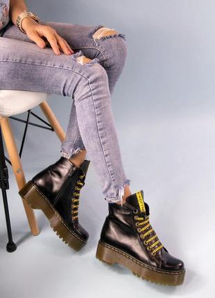 Кожаные женские демисезонные ботинки