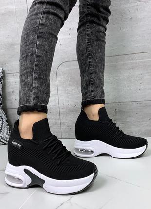 Чёрные текстильные кроссовки,стильные текстильные кроссовки на...
