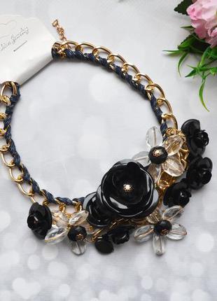 """Ожерелье """"цветы"""" массивное черное"""
