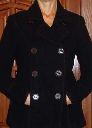 Куртка черная размер 46 / 12 пальто плащ женская шерсть демисе...