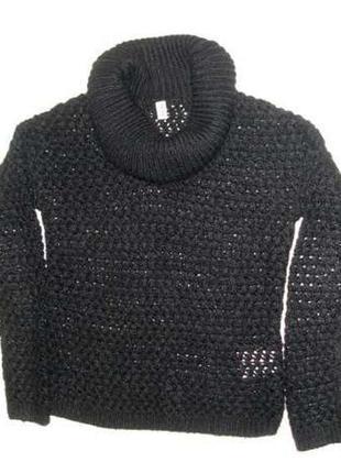 Свитер ажурный размер 42-44 шерсть акрил женский черный вязанн...