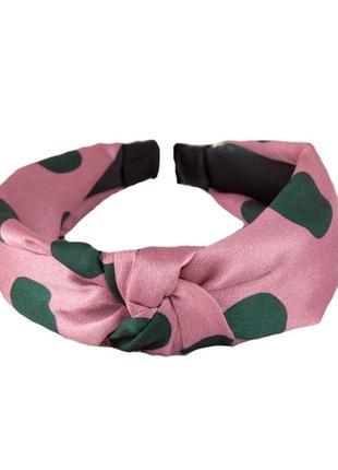 Обруч-чалма с принтом горох розовый