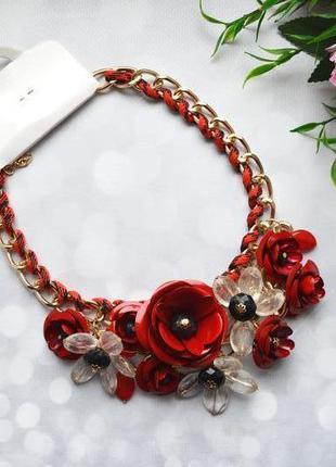 """Ожерелье """"цветы"""" массивное красное"""