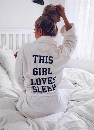 Милый мягкий халат с вышивкой слоганом на спине this girl love...