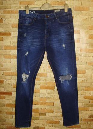 """Стильные мужские """"рваные"""" скинни на пуговицах джинсы w34l30"""