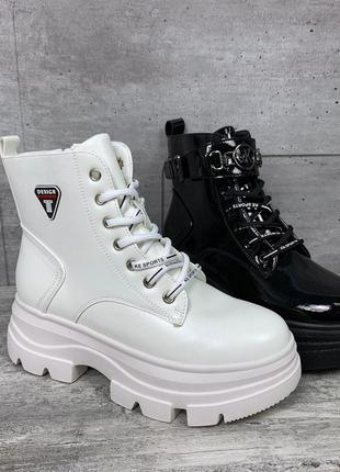 Белые высокие ботинки на платформе,белые демисезонные ботинки ...