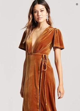 Платье горчичное бархатное велюровое на запах glamorous размер...