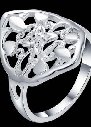🏵стильное ажурное посеребрённое кольцо в серебре 925, 18 р., н...
