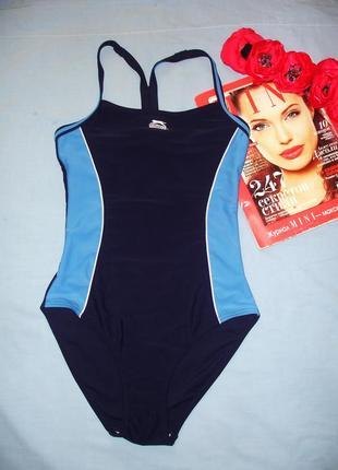 Купальник сдельный темно-синий спортивный в бассейн размер 42 ...