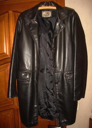 Пальто плащ из эко-кожи размер 50 / 16 весеннее осеннее демисе...