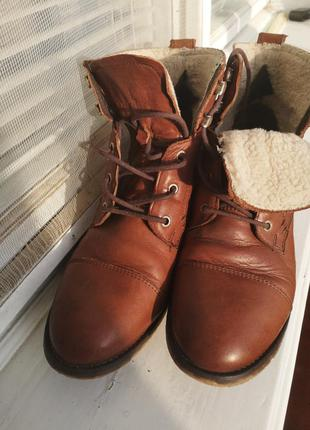 Сапожки ботинки 39р кожа