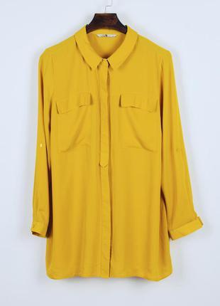 Горчичная блузка шифоновая, оверсайз рубашка женская, весенняя...