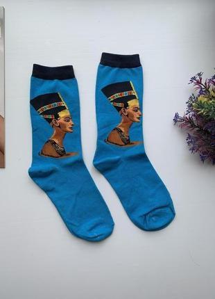 Высокие стильные женские носки с рисунком нефертити