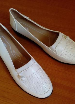 Туфли молочного цвета на танкетке, 26 см по стельке