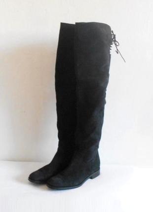 Черные осенние высокие кожаные сапоги ботфорды из натуральной ...