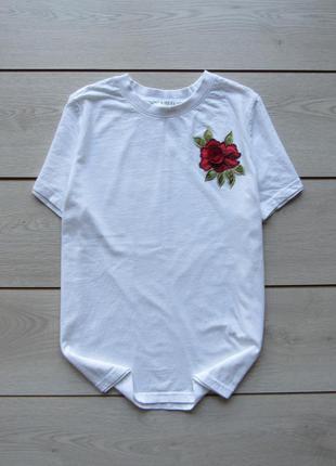 Белая хлопковая футболка с розой от pieces accessories