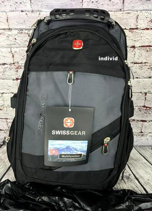 Мужской рюкзак swissgear c usb + чехол дождевик + выход на нау...