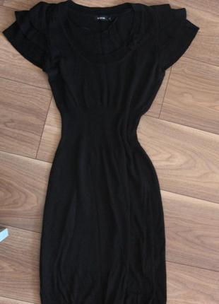 Платье миди, трикотаж,черное, распродажа