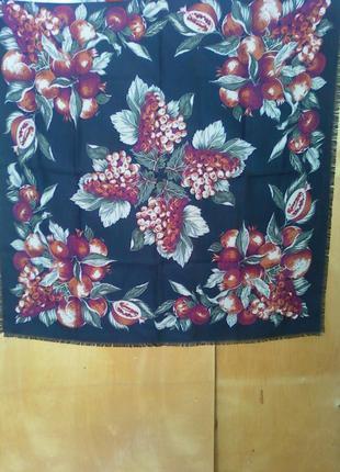 87x85 см платок хустка шаль косынка черная с узором виноградны...