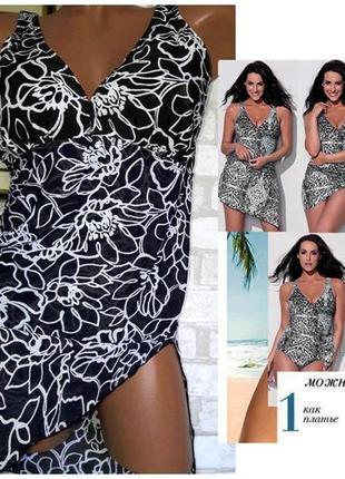 Купальник платье из сетки размер 44-46 / 12 сдельный черный ра...