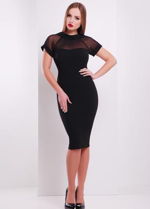 Платье по фигуре черного цвета с верхом из сетки