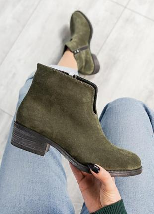 ❤ женские оливковые весенние демисезонные замшевые ботинки на ...
