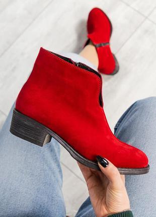 ❤ женские красные весенние демисезонные замшевые ботинки на ба...