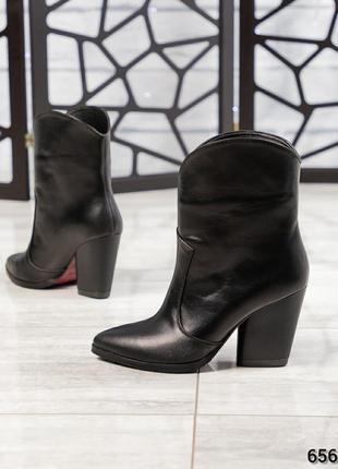 ❤ женские черные весенние демисезонные кожаные ботинки ботильо...