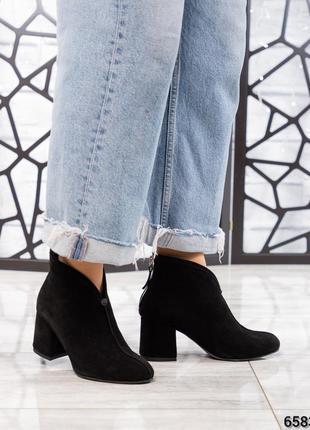 ❤ женские черные весенние демисезонные замшевые ботинки на бай...