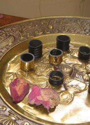 Сет набор колец. кольца из натуральной кожи и зеркальные кольца .
