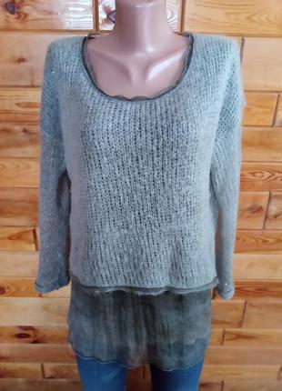 Шелк мохер . интересный широкий свитер кофта кофточка оверсайз
