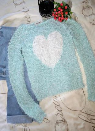 Мятный небесный свитерок травка с сердцем