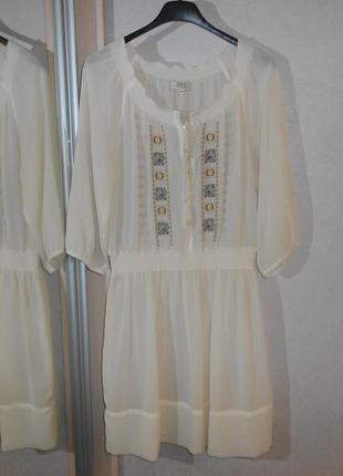 Распродажа! papaya роскошное кремовое платье туника с вышивкой...