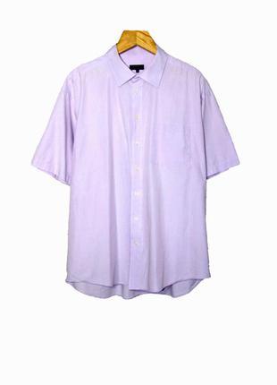 Мужская рубашка с коротким рукавом светло-сиреневого цвета