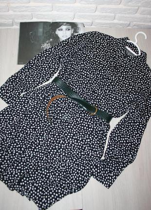 Стильное платье -рубашка в горошек,приятная вискозная ткань!