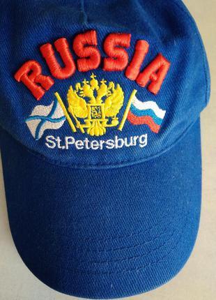 Р.  58 кепка бейсболка синяя с надписью russia st. petersburg ...