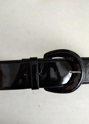 Черный лаковый широкий пояс ремешок ремень пасок ширина 4,5 см...