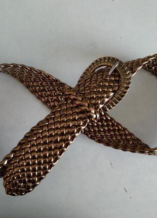 Широкий золотой плетеный пояс ремешок ремень пасок ширина 4,3 ...