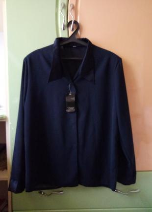 Новая темно синяя рубашка из крепдешина