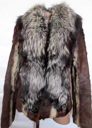 Шуба,шубка ,полушубок натуральный мех коза,козлик-чернобурка,л...