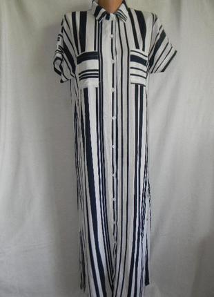 Длинное платье рубашка в полоску