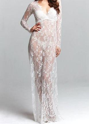 Кружевное прозрачное белое платье