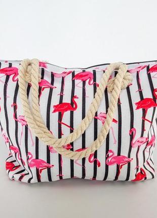 Сумка пляжная фламинго